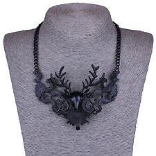 Dark black elk deer Christmas gift bib collar choker necklace for women