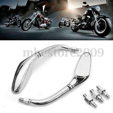 Pair Chrome Streamline Motorcycle Mirrors For Harley Dyna Softail Sportster
