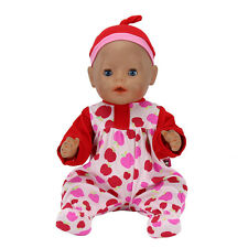 Red apple jumpsuit clothes Wearfor 43cm Baby Born zapf (only sell clothes )