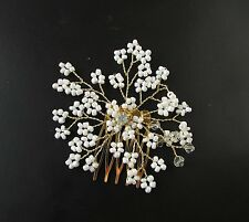 White Gold Gypsophila Vine Hair Comb Baby's Breath Pearl Bridesmaid Bridal 1005