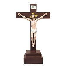 "14.5"" Resin Jesus on Inri Cross Standing Unit Crucifix Easter Deco Home Charbel"
