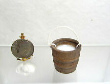 Dollhouse Miniature or Fairy Garden Wood Bucket or Pail of Resin Milk