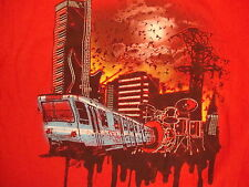 Mad Engine Train Subway Guitar Band Red Distressed T Shirt L