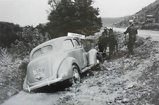 "12 By 18"" Black & White Picture 1938 Ford in a Ditch"