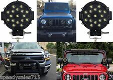 "(2) 51W 7"" Round Black LED Lights Spot Flood Bar Offroad Jeep New Free Shipping"