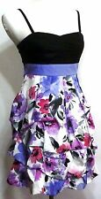 IZBuyer Periwinkle Floral and Black Ladies Short Strapless Dress Size 3
