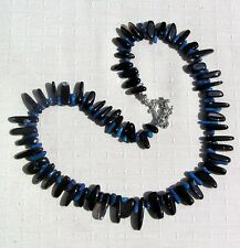 "Blue Coral & Black Onyx Crystal Gemstone Necklace ""Blueberry Punch"""