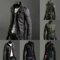 Mens Coat Military Style Men Zip Button Classic Overcoat Jacket New Stand Collar