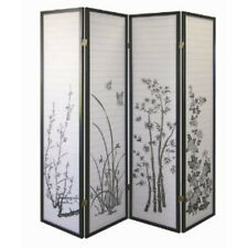 Brand New 4-panel PAPER SHOJI Screen with floral painting room divider- ASDI