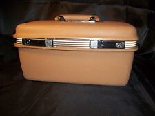 Vtg Samsonite Train Hard Case Brown Suitcase Luggage Makeup Case w/ Key