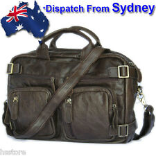 DS015B Handmade Genuine Leather Backpack Briefcase Laptop Business Travel Bag