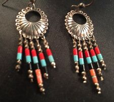 Earrings,sterling silver and Turquoise,Coral,onyx beads for pierced ears. Signed