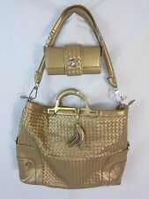 Joy Mangano JM Gold Convertible Purse Extra Large Tote & Small Bag Set - BP5