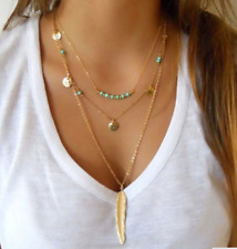 Women's Fashion Long Beaded and Gold Tone Multilayer Necklace