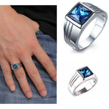 New Men's Copper With Silver Plated Band Rings Blue Crystal Wedding Ring Size 9