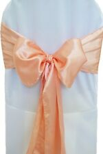 "100 Peach Satin Chair Cover Sash Bows 6"" x 108"" Banquet Wedding Made in USA"