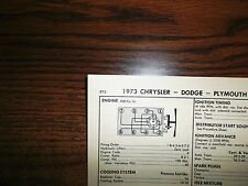 1973 Dodge, Plymouth & Chrysler 400 CI V8 4BBL SUN Tune Up Chart Great Shape!