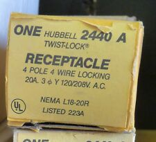 NEW HUBBELL 2440A TWIST-LOCK RECEPTACLE 4 POLE 4 WIRE LOCKING 20A 120/208VAC