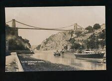 Gloucestershire Glos BRISTOL Clifton Suspension Bridge boat REGINALD 1918 RP PPC