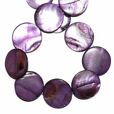 MP1612L Purple Grape Mother of Pearl 30mm Flat Round Gemstone Shell Beads 16""