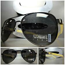 CLASSIC VINTAGE AVIATOR Style SUN GLASSES Gunmetal Frame - Real Wood Wooden Arms