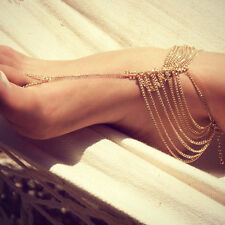 BOHO BRIDAL Barefoot Sandals 2pcs Gypsy Beach Anklet GOLD Bracelet Foot Jewelry