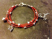 Silver Plated Star Cord Bracelet Pendant Charms Christmas Reindeer Red