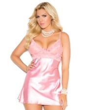 Pink Babydoll Set 3X Women Plus Satin Lace Cup Sexy Short Nightie Panty Lingerie