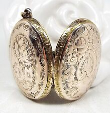 Antique Victorian 9ct Gold Large Ivy Leaf Shield Engraved Photo Locket Necklace