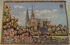 "VTG FRENCH Woven TAPESTRY~""CHARTRES CATHEDRAL""~France~BEAUTIFUL~"