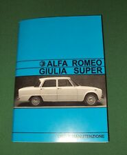Uso e manutenzione Alfa Romeo Giulia S 1600 use and maintenance owner's manual