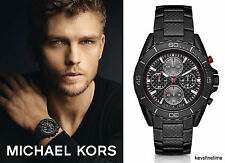 New Michael Kors Men JetMaster Black Carbon Fiber Chronograph Watch MK8455 $695