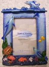 """Picture Frame Dolphins & Fish 6 ½"""" x 9"""" for 4"""" x 6"""" picture or mirror NEW"""
