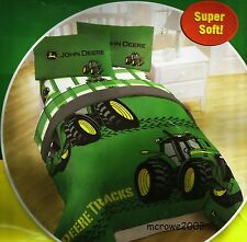 JOHN DEERE TRACTOR TRACKS GREEN TWIN COMFORTER AND SHEETS 4PC BEDDING SET