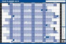 2017 Mounted Year Planner - Wall Laminated Large Size in BLUE 0793-YPM13M