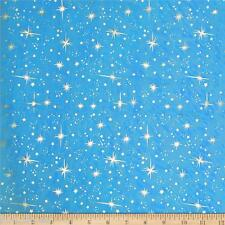 ICE STAR Silk Taffeta fabric material -Sky Blue + Foil Gold Star -140cm wide byM