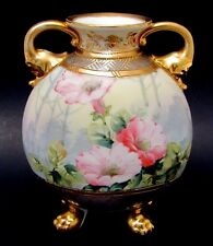 Antique Hand Painted Nippon #47 Floral Cabinet Vase Elephant Handles Early 1900