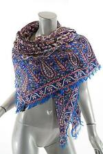 "ETRO Multi Wool/Silk Blend Paisley/Floral Fringed Scarf/Shawl - FAB - 52"" Square"