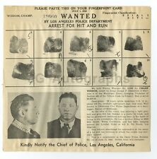 Wanted Notice - Champ Wisdom/Hit & Run - Los Angeles, California, 1940