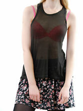 Wildfox Women's Hiking Summer Tank Top Sleeveless Slouchy Dirty Black Size S