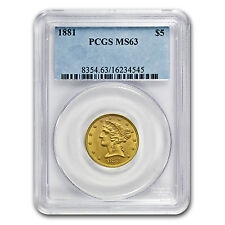 $5 Liberty Gold Half Eagle Coin - Random Year - MS-63 PCGS - SKU #10250