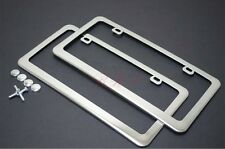 2 pcs High End Stainless Steel Mirror Chrome License Plate Frame+Free Cap
