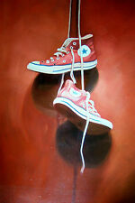 Converse trainers shoes Iconic footwear 28x16 oil painting, framing available.