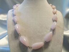 BEAUTIFUL Strand of Silvertone Links w/ PINK Quartz GLASS Bead Necklace 15N79