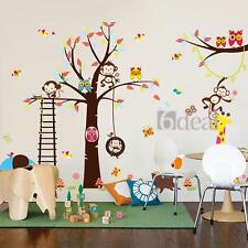 Animals Monkey Owl Tree Removable Wall Decal Sticker Kid Room Home Decor Art DIY