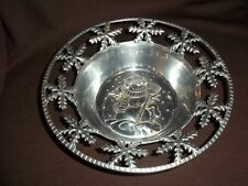 Vtg. Pierced Aluminum Treat Bowl - Snowman/Snowflake Decoration