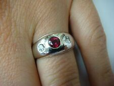 ! EXQUISITE RUBY AND DIAMONDS GYPSY RING 4 GR, SIZE 5.25, 8.3 MM WIDE, 14K GOLD.