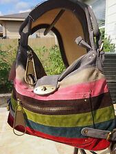 Gray Multi Color Striped Designers Inspired Suede Handbag Brand New Last Ones