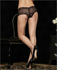 Vintage Retro Rockabilly Burlesque Nude Fishnet Tights w.Black Seams & Panty
