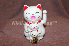 Japanese Lucky Maneki Neko Waving Paw Hand Beckon Cat White Battery Operated 5""